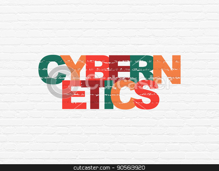 Science concept: Cybernetics on wall background stock photo, Science concept: Painted multicolor text Cybernetics on White Brick wall background by mkabakov