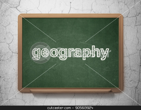 Science concept: Geography on chalkboard background stock photo, Science concept: text Geography on Green chalkboard on grunge wall background, 3D rendering by mkabakov