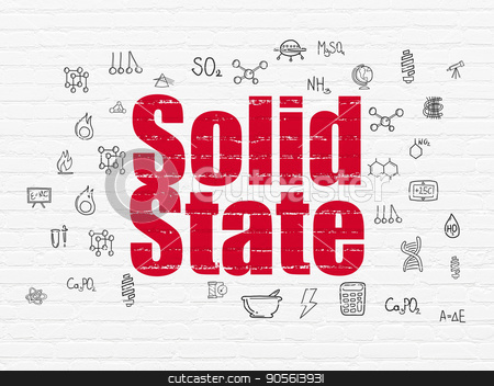 Science concept: Solid State on wall background stock photo, Science concept: Painted red text Solid State on White Brick wall background with  Hand Drawn Science Icons by mkabakov