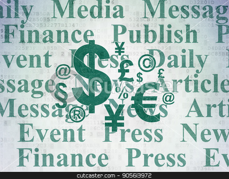 News concept: Finance Symbol on Digital Data Paper background stock photo, News concept: Painted green Finance Symbol icon on Digital Data Paper background with  Tag Cloud by mkabakov