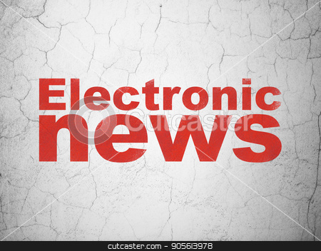 News concept: Electronic News on wall background stock photo, News concept: Red Electronic News on textured concrete wall background by mkabakov