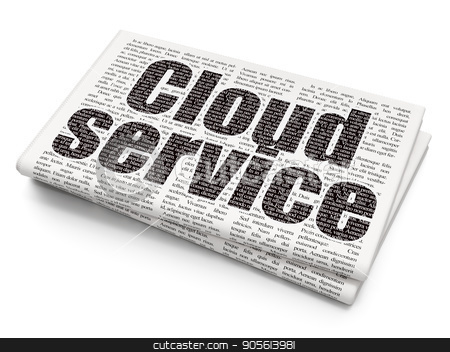 Cloud technology concept: Cloud Service on Newspaper background stock photo, Cloud technology concept: Pixelated black text Cloud Service on Newspaper background, 3D rendering by mkabakov