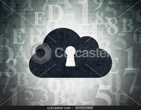 Cloud computing concept: Cloud With Keyhole on Digital Data Paper background stock photo, Cloud computing concept: Painted black Cloud With Keyhole icon on Digital Data Paper background with  Hexadecimal Code by mkabakov