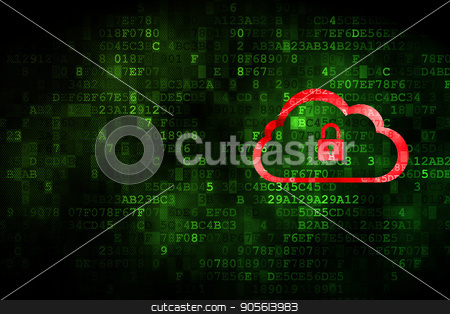Cloud computing concept: Cloud With Padlock on digital background stock photo, Cloud computing concept: pixelated Cloud With Padlock icon on digital background, empty copyspace for card, text, advertising by mkabakov