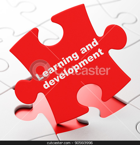Studying concept: Learning And Development on puzzle background stock photo, Studying concept: Learning And Development on Red puzzle pieces background, 3D rendering by mkabakov