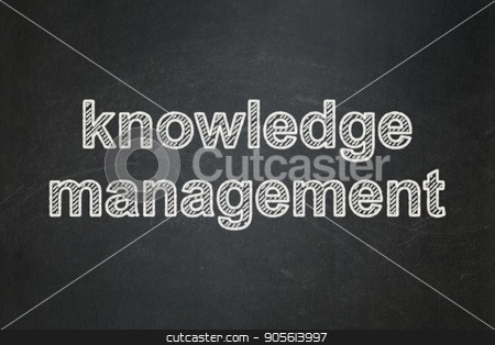 Learning concept: Knowledge Management on chalkboard background stock photo, Learning concept: text Knowledge Management on Black chalkboard background by mkabakov