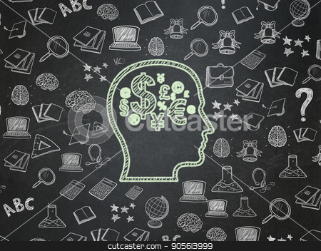 Education concept: Head With Finance Symbol on School board background stock photo, Education concept: Chalk Green Head With Finance Symbol icon on School board background with  Hand Drawn Education Icons, School Board by mkabakov