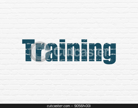 Learning concept: Training on wall background stock photo, Learning concept: Painted blue text Training on White Brick wall background by mkabakov