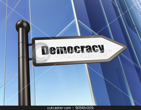 Political concept: sign Democracy on Building background stock photo, Political concept: sign Democracy on Building background, 3D rendering by mkabakov