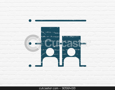 Political concept: Election on wall background stock photo, Political concept: Painted blue Election icon on White Brick wall background by mkabakov