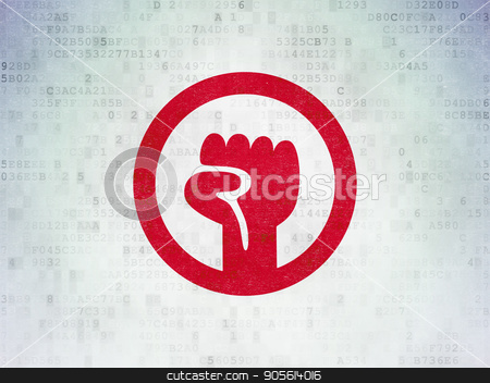 Political concept: Uprising on Digital Data Paper background stock photo, Political concept: Painted red Uprising icon on Digital Data Paper background by mkabakov