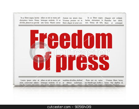 Political concept: newspaper headline Freedom Of Press stock photo, Political concept: newspaper headline Freedom Of Press on White background, 3D rendering by mkabakov