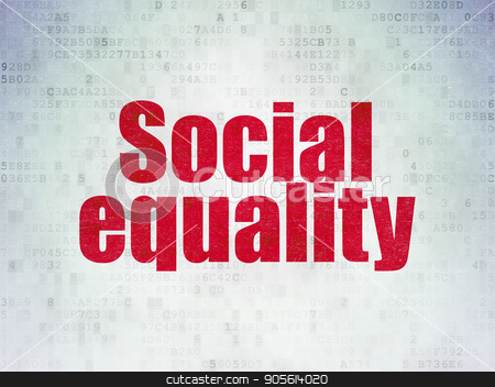 Political concept: Social Equality on Digital Data Paper background stock photo, Political concept: Painted red word Social Equality on Digital Data Paper background by mkabakov