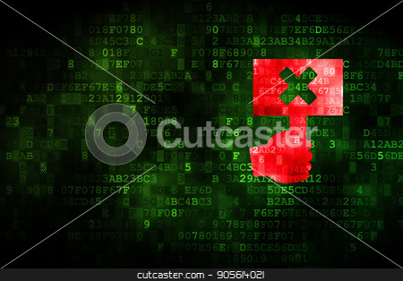 Political concept: Protest on digital background stock photo, Political concept: pixelated Protest icon on digital background, empty copyspace for card, text, advertising by mkabakov