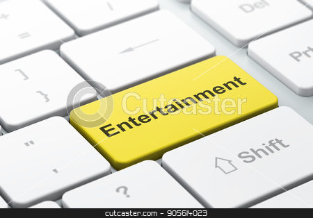 Holiday concept: Entertainment on computer keyboard background stock photo, Holiday concept: computer keyboard with word Entertainment, selected focus on enter button background, 3D rendering by mkabakov