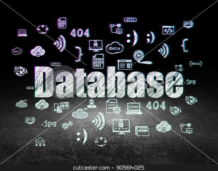 Software concept: Database in grunge dark room stock photo, Software concept: Glowing text Database,  Hand Drawn Programming Icons in grunge dark room with Dirty Floor, black background by mkabakov