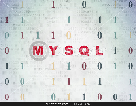 Programming concept: MySQL on Digital Data Paper background stock photo, Programming concept: Painted red text MySQL on Digital Data Paper background with Binary Code by mkabakov