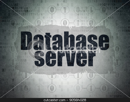 Software concept: Database Server on Digital Data Paper background stock photo, Software concept: Painted black text Database Server on Digital Data Paper background with  Scheme Of Binary Code by mkabakov