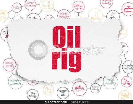 Industry concept: Oil Rig on Torn Paper background stock photo, Industry concept: Painted red text Oil Rig on Torn Paper background with Scheme Of Hand Drawn Industry Icons by mkabakov