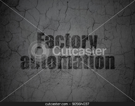Industry concept: Factory Automation on grunge wall background stock photo, Industry concept: Black Factory Automation on grunge textured concrete wall background by mkabakov