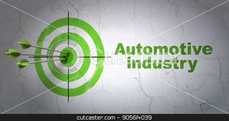Manufacuring concept: target and Automotive Industry on wall background stock photo, Success Manufacuring concept: arrows hitting the center of target, Green Automotive Industry on wall background, 3D rendering by mkabakov