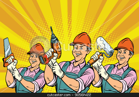Construction worker with the repair tools stock vector clipart, Construction worker with the repair tools. Comic book cartoon pop art retro colored drawing vintage illustration by rogistok