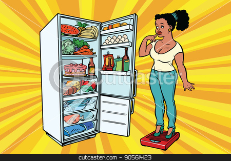Diet. Young woman on scales, stand next to the refrigerator with stock vector clipart, Young woman on scales, stand next to the refrigerator with food. Diet and weight-loss, fat people. A healthy lifestyle. African American people. Comic cartoon style pop art retro vector color drawing by rogistok