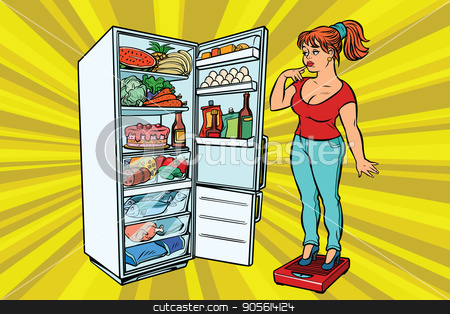 Diet. Young woman on scales, stand next to the refrigerator with stock vector clipart, Young woman on scales, stand next to the refrigerator with food. Diet and weight-loss, fat people. A healthy lifestyle. Comic cartoon style pop art retro vector color drawing illustration by rogistok
