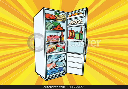 Home refrigerator filled with food stock vector clipart, Home refrigerator filled with food. Fruits and vegetables, meat and fish. Comic cartoon style pop art retro vector color drawing illustration by rogistok