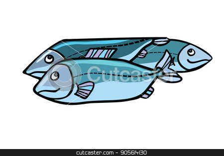 Fish food illustration stock vector clipart, Fish food illustration. Sea and river animals. Comic cartoon style pop art retro vector color drawing by rogistok