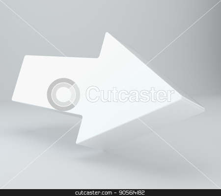 Empty arrow with shadow in studio for presentation. 3d rendering. top view stock photo, Empty arrow with shadow in studio for presentation. 3d rendering. top view. by Andrey