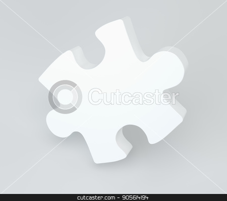 White puzzle with soft shadows. 3d rendering stock photo, White puzzle with soft shadows. 3d rendering. by Andrey
