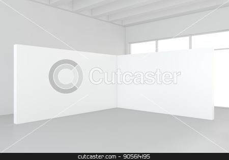 Large empty room with standing billboards. 3d rendering stock photo, Large empty room with standing billboards. 3d rendering. by Andrey