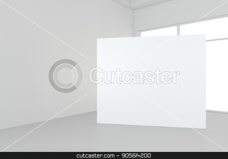 Blank white billboard in empty room with big windows, mock up, 3D Rendering stock photo, Blank white billboard in empty room with big windows, mock up, 3D Rendering. by Andrey