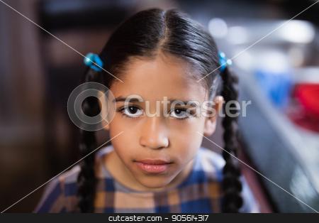 Portrait of cute girl in kitchen stock photo, Portrait of cute girl in kitchen at home by Wavebreak Media