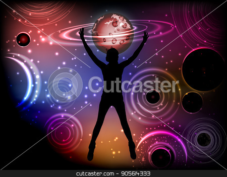 Man and cosme. The concept of power over fate stock vector clipart, Man and cosme. The concept of power over fate. Silhouette of a girl falling into outer space. Tags, statuses in social networks. Vector illustration for your design by Kseniia