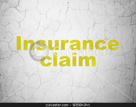 Insurance concept: Insurance Claim on wall background stock photo, Insurance concept: Yellow Insurance Claim on textured concrete wall background by mkabakov