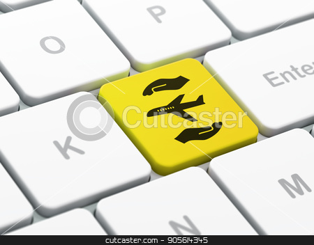 Insurance concept: Airplane And Palm on computer keyboard background stock photo, Insurance concept: computer keyboard with Airplane And Palm icon on enter button background, selected focus, 3D rendering by mkabakov