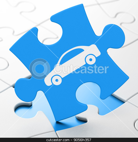 Travel concept: Car on puzzle background stock photo, Travel concept: Car on Blue puzzle pieces background, 3D rendering by mkabakov