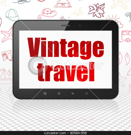 Vacation concept: Tablet Computer with Vintage Travel on display stock photo, Vacation concept: Tablet Computer with  red text Vintage Travel on display,  Hand Drawn Vacation Icons background, 3D rendering by mkabakov