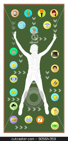 Man and technology. On white background stock vector clipart, Man and technology. On white background. The girl is silhouetted. Logo on a green board background. Icons: laptop, flashlight, camera by Kseniia