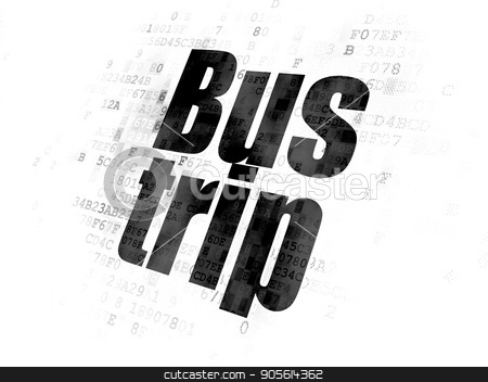 Vacation concept: Bus Trip on Digital background stock photo, Vacation concept: Pixelated black text Bus Trip on Digital background by mkabakov