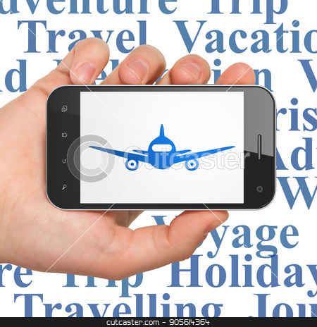 Tourism concept: Hand Holding Smartphone with Aircraft on display stock photo, Tourism concept: Hand Holding Smartphone with  blue Aircraft icon on display,  Tag Cloud background, 3D rendering by mkabakov