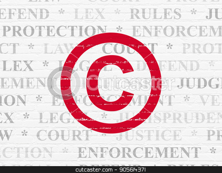 Law concept: Copyright on wall background stock photo, Law concept: Painted red Copyright icon on White Brick wall background with  Tag Cloud by mkabakov