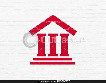 Law concept: Courthouse on wall background stock photo, Law concept: Painted red Courthouse icon on White Brick wall background by mkabakov