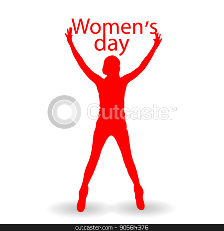 International Women's Day. Illustration, vector for your design stock vector clipart, International Women's Day. Illustration, vector for your design. Logo. On white background. Woman red with hands up and text by Kseniia