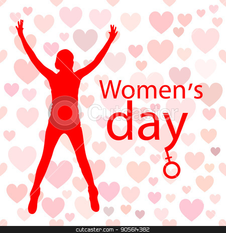 International Women's Day. Illustration, vector for your design stock vector clipart, International Women's Day. Illustration, vector for your design. Logo. On a white background with hearts. Woman hands up. Venus mirror is a symbol by Kseniia