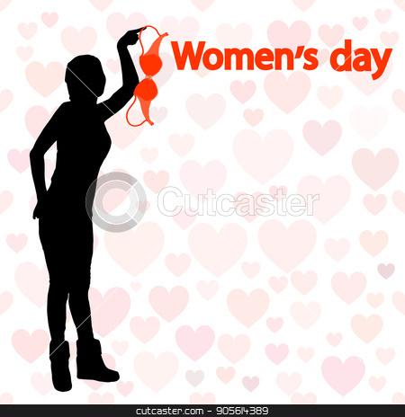 International Women's Day. Illustration, vector for your design stock vector clipart, International Women's Day. Illustration, vector for your design. Silhouette girl holding bra. Protest nudity. inscription by Kseniia