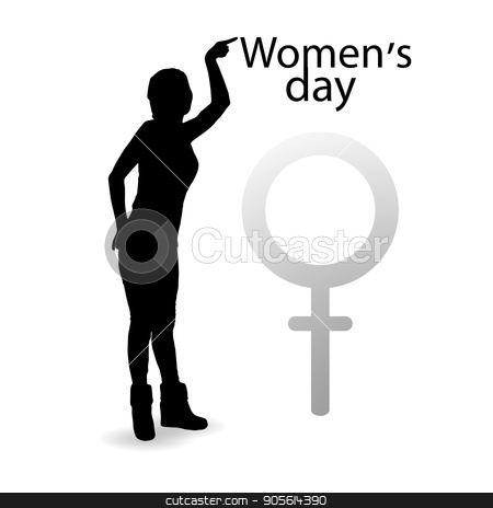 International Women's Day. Illustration, vector for your design stock vector clipart, International Women's Day. Illustration, vector for your design. Logo. Silhouette of a girl pointing a finger at the inscription on a white background. Sonochrome. Mirror Venus. Symbol of the feminine by Kseniia