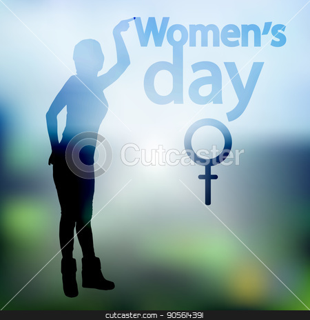 International Women's Day. Illustration, vector for your design stock vector clipart, International Women's Day. Illustration, vector for your design. Logo. Silhouette of a girl pointing a finger at the inscription. Mirror Venus. Symbol of the feminine by Kseniia